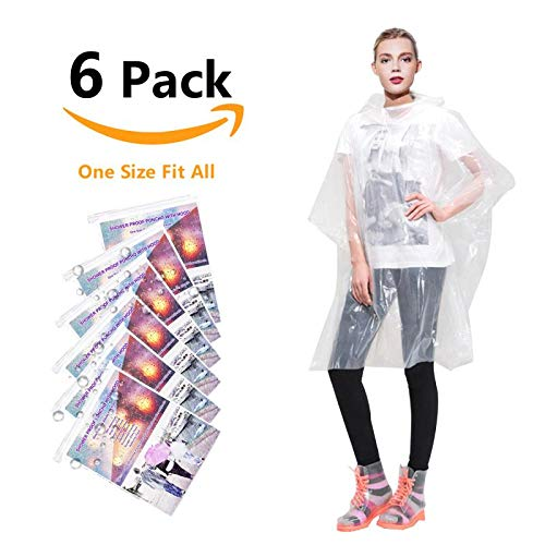 Annifree Rain Ponchos for Adults Disposable - Waterproof Lightweight (6 Pack) Rain Ponchos with Drawstring Hood 50% Thicker Material Emergency Rain Poncho Clear Color]()