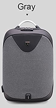 ARCTIC HUNTER Business Backpack Invisible Anti theft Backpack Aluminum Alloy Handle with USB Charging Port Travel Rucksack Laptop Pro Water-Resistant Computer Backpack Grey