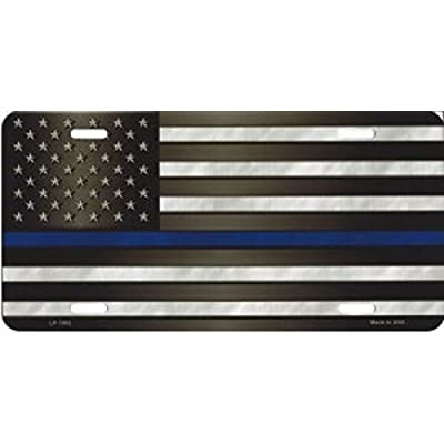 Smart Blonde LP-7902 American Flag With Blue Police Novelty Metal License Plate: Automotive