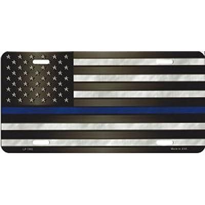 Smart Blonde LP-7902 American Flag With Blue Police Novelty Metal License Plate: Automotive [5Bkhe2010475]