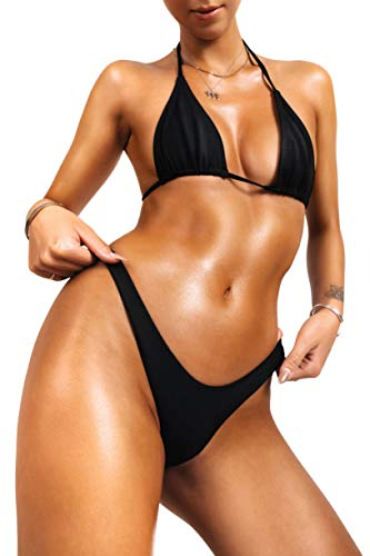 sofsy Black Bikini Swimsuit for Women Bathing Suit Two Piece Set Swimwear Tie Triangle Top & High Cut Bottom Sexy Size 6-8 Medium 32dd 34dd