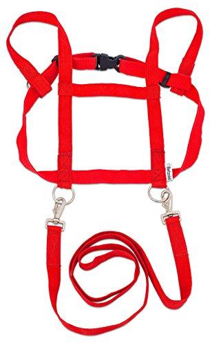 Betzold Pferde-Geschirr, mit Sicherheits-Schnell-Verschluss, Pferdeleine, Pferdchen-Spiel, Rollenspiel Kinder, Zuglänge 85 cm, Brustumfang 110 cm, in rot