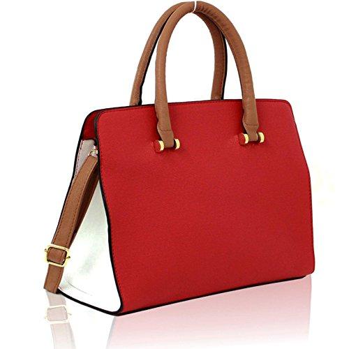 Xardi London-Borsa grande in pelle da donna, stile borsa a tracolla, pochette da donna Red