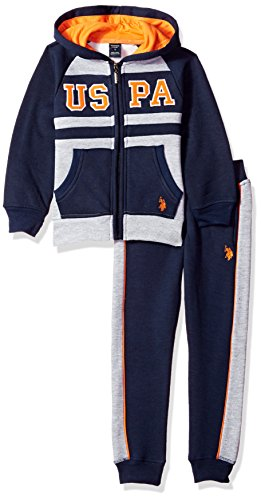 U.S. Polo Assn. Boys' Little 2 Piece Jog Set, Navy, 7