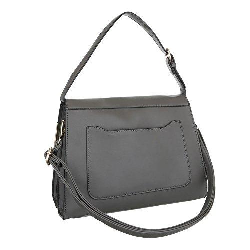 iTal-dEsiGn Damen-Tasche Mittelgroße Schultertasche Handtasche Tragetasche Kunstleder Grau TA-A21