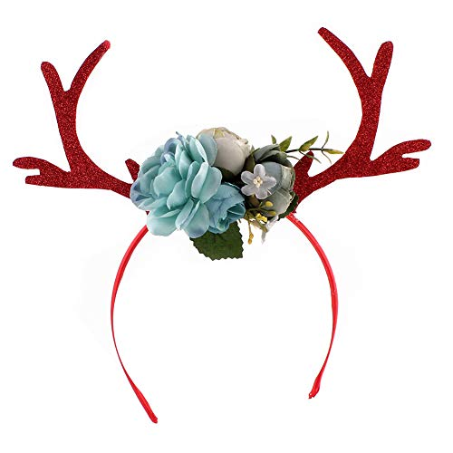 YaptheS Christmas Fawn Horn Headband Deer Antler Hair Hoop with Flowers DIY Holiday Party Accessory -