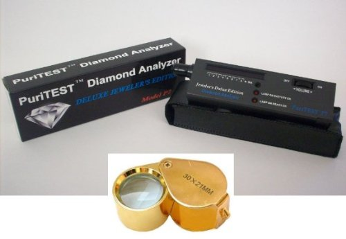 Puritest Electronc Diamond Testing Machine with Jewelers 30x Magnifying Glass Loupe-- Gemology Instruments Christmas Xmas Present Gifts Hanukkah Kwanzaa Black Friday Cyber Monday ()