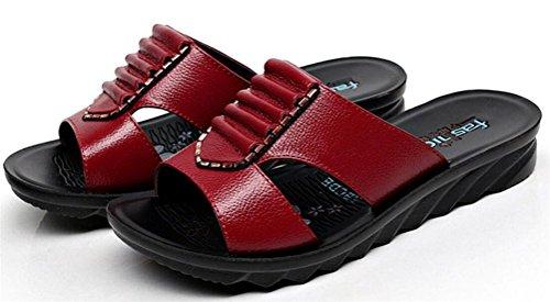 Womens Vouw Lederen Hak Wiggen Moeder Sandalen Eenvoudige Slippers Plus Maat Rood