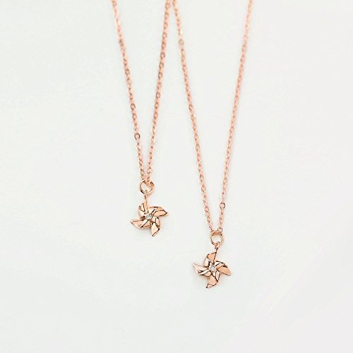 Dainty Pinwheel Necklace in Rose Gold Cubic Zirconia Crystal Necklace Minimal Jewelry Everyday Necklace Gift for Her