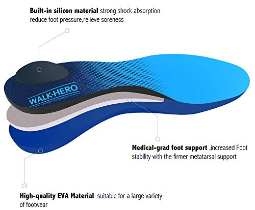 Plantar Fasciitis Feet Insoles Arch Supports Orthotics Inserts Relieve Flat Feet, High Arch, Foot Pain Mens 13-13 1/2 by WalkHero (Image #2)