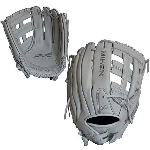 (Miken Pro Series Slowpitch Softball Glove, 13 inch, White, Right Hand Throw)