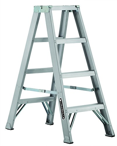 Louisville Ladder AM1004 300-Pound Duty Rating Aluminum Twin Front Step Ladder, 4-Foot - Twin Platform Step Ladder