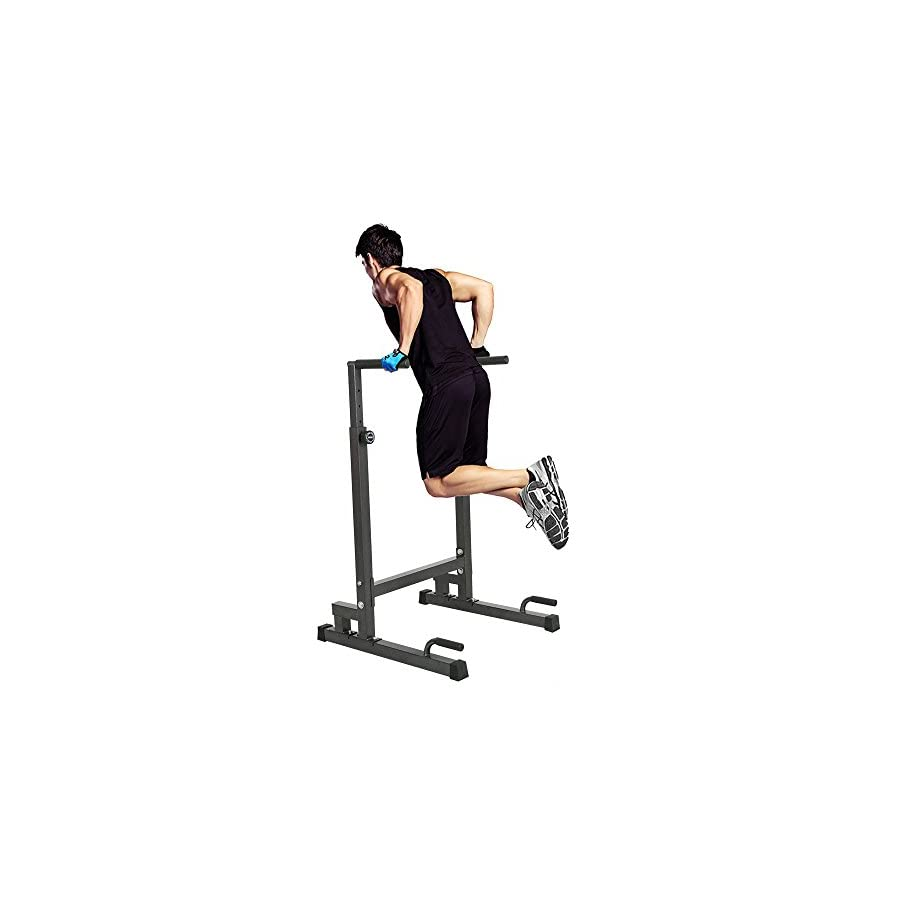 Lucky Tree Adjustable Dip Station Strength Training Exercise Power Rack Dipping Stand Parallel Bar Power Tower for Home Gym