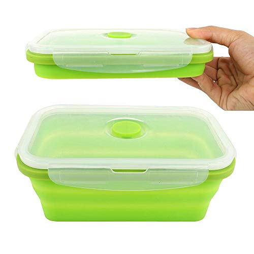 - Silicone Lunch Box Leak Proof Collapsible 800ML Food Storage Meal Prep Containers, BPA Free, Microwave Oven Dishwasher Freezer Safe