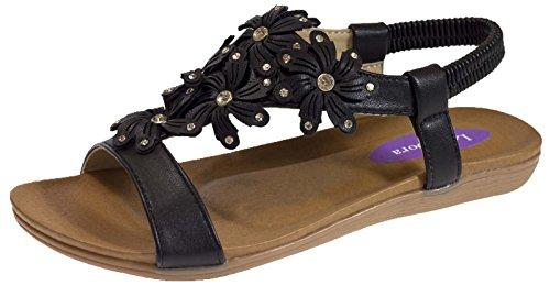 Lora Dora Womens Diamante Flower Sandals Black