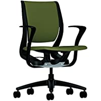 HON Purpose Mid-Back Chair with YouFit Flex Motion, Fixed Arms, Black Shell and Black Base, Olivine Fabric