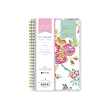 """Day Designer for Blue Sky 2017-2018 Academic Year Weekly & Monthly Planner, Wire-O Binding, 5"""" x 8"""", Navy Floral"""