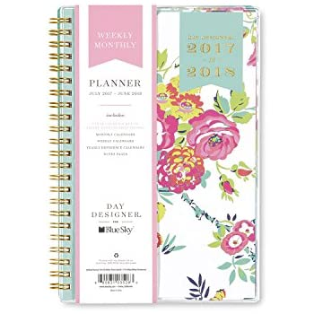 """Day Designer for Blue Sky 2017-2018 Academic Year Weekly & Monthly Planner, Twin-Wire Bound, 5"""" x 8"""", White Floral"""