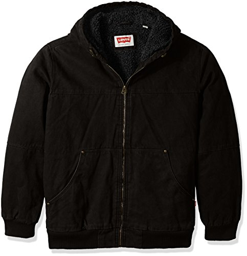 Levi's Men's Cotton Canvas Workwear Hoody Bomber with Full Sherpa Lining, Black, 3X BIG