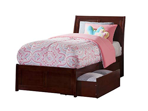 (Atlantic Furniture AR8916114 Portland Platform Bed with Matching Foot Board and 2 Urban Bed Drawers, Twin XL, Walnut)