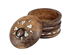 Diwali Gifts Handmade Wooden Jewelry Ring Keepsake Trinket Box with Floral Design for Home Décor (Brown 2)