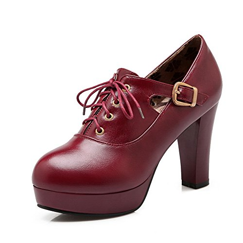 BalaMasa Girls high-heels solido a punta rotonda piattaforma lace-up altezza gomma pumps-shoes, Rosso (Red), 35