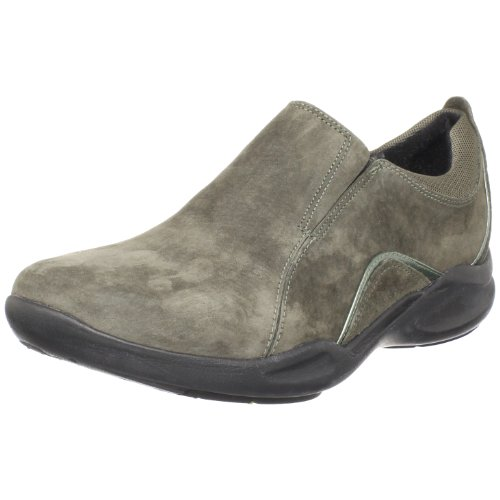Clarks Women's Wave.Crest Slip-On,Charcoal Suede,9.5 W