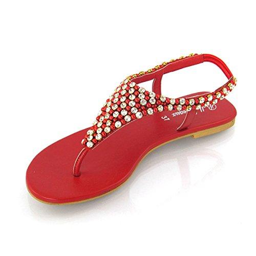 Essex Glam - Damen Zehensteg Sandalen Flip Flops Mit Strasssteine Rot