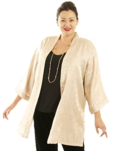 Peggy Lutz Plus Women's Tunic Length Kimono Champagne Crinkle Crash - (34/36)