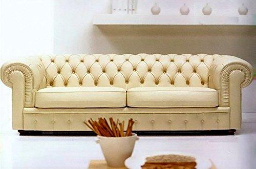 Calia Maddalena–Klassisches Sofa Chester Leder erste Blume sauvage Chester poltrona silver - 112x74x90 cm Pelle Primo Fiore Sauvage Taupe