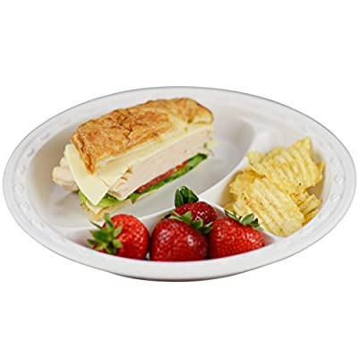 Simply Deliver 10-Inch Plastic Plate, 3 Compartments