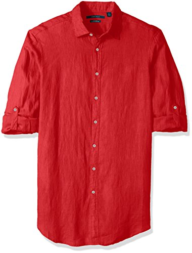 Perry Ellis Men's Tall Solid Rolled-Sleeve Linen Shirt, Ribbon red-4chw7681, 5X Big