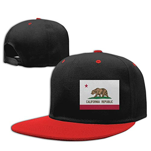 (Age 2-9) California Flag Kids Hip Hop Baseball Cap, Fun Adjustable Sun Hat Red