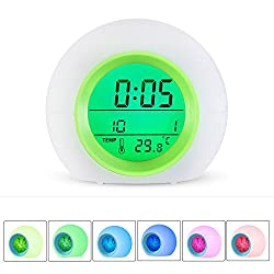 Alarm Clock for kids, INVENBER LED Wake Up Premium Digital Clock with Temperature Display & Nature Sound - 7 Colors Changing (Green)