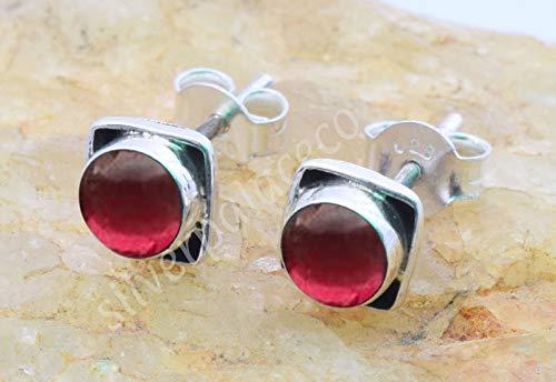 925 Sterling Silver Garnet Stud Earrings- Girl Women Garnet Stone Gemstone Stud Post Earrings Jewellery ()