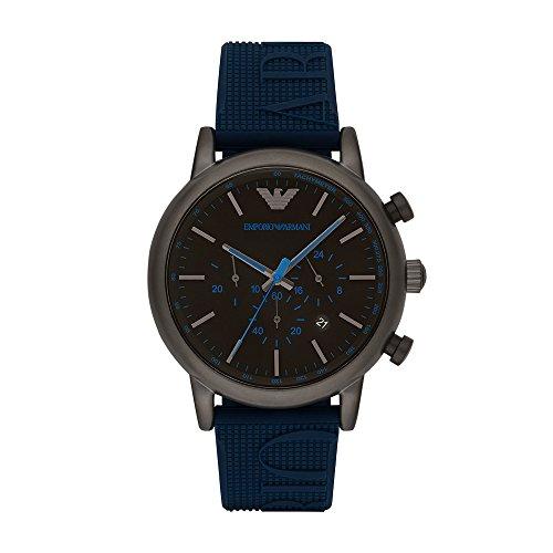 (Emporio Armani Men's Luigi Stainless Steel Analog-Quartz Watch with Silicone Strap, Blue, 14 (Model: AR11023))