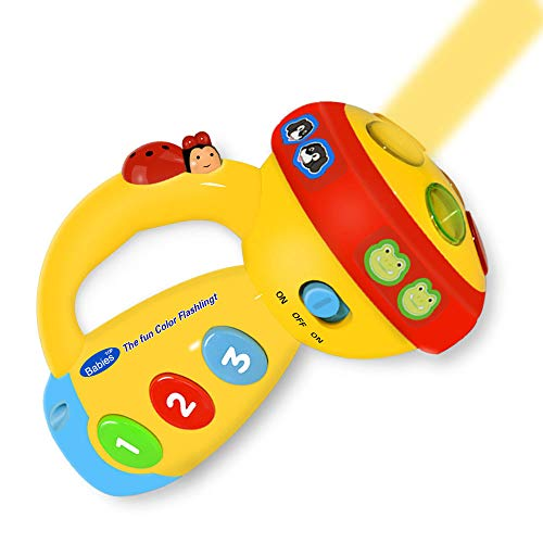 Baby Favorited Toys for 1-3 Year Old Kids,Kimy Spin and Learn Flashlight Christmas Birthday Party Gifts Presents for Age 1-5 Boys Girls Yellow KMUSFL01