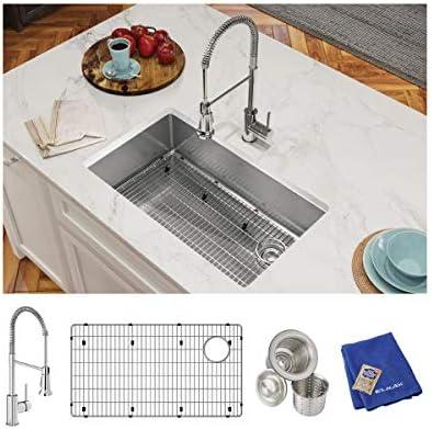 Elkay Crosstown ECTRU30179RTFC 18 Gauge Stainless Steel 31-1 2 x 18-1 2 x 9 , Single Bowl Undermount Sink Kit with Faucet