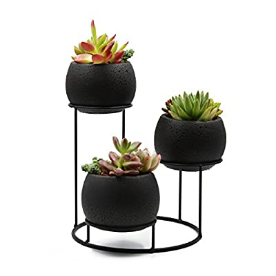 UDMG Small Succulent Cactus Plant Pot, 3 Black Cement Planters with a Iron Stand Holder