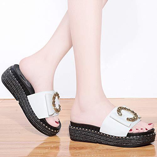 Zapatillas black Pendiente de señoras baño Grueso AJUNR Interior Tacones Sandalias Fondo casa Zapatillas Transpirable 5Oqaww4