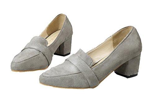 Tire Gris Couleur Femme Pointu Talon Unie À Agoolar Chaussures Correct Légeres xv0wqnC