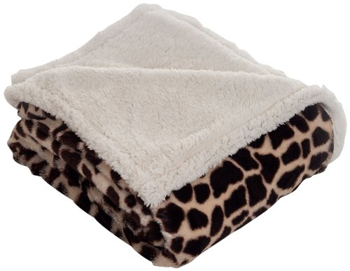 Lavish Home Throw Blanket, Fleece/Sherpa, Giraffe