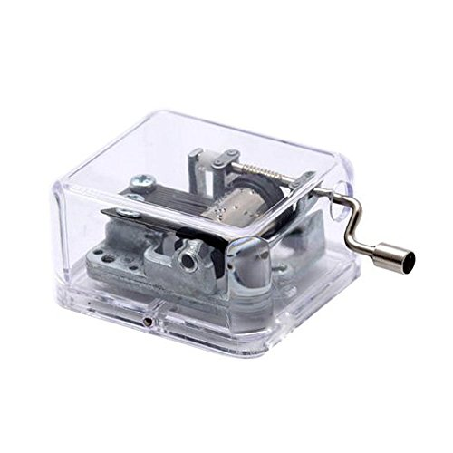 Hand Crank Plastic Music Box with Silver-plating Movement,Canon In D,Transparent