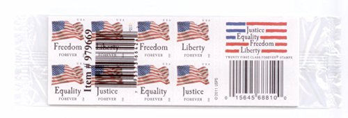 USPS Forever Stamps Four Flags Stamps - 5 x Books of 20 (100 Stamps Total)