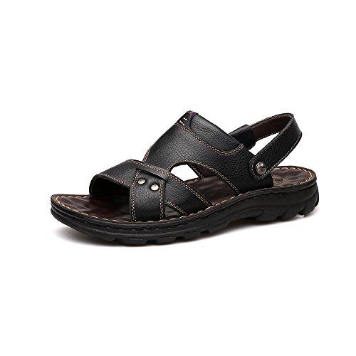 病者幽霊ポイントYQQ カジュアルシューズ 男性の靴 ビーチの靴 メンズスリッパ レザーサンダル 夏 ソフトボトム マッサージインソール 居心地の良い 滑り止め (色 : 黒, サイズ さいず : EU39/UK6.5)