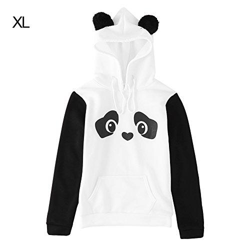 FTVOGUE Women's Fashionable Panda Pattern Round Collar Long Sleeve Hoodie Print Pullover Sweater (Pattern Round Collar Pullover)