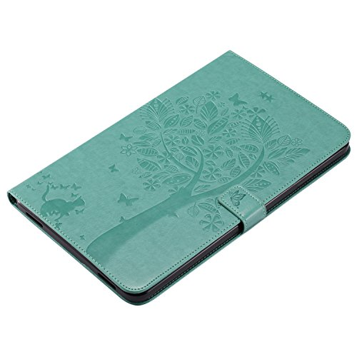 Samsung Galaxy Tab A 10.1 Case, BONROY® Samsung Galaxy Tab A 10.1 T580N/ T585N Smart Case Cover Girl and Cat pattern series Ultra Slim Smart-shell Built-in Stand Auto Wake/Sleep For Samsung Galaxy Tab Cats and tree - green