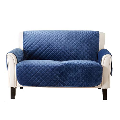 Great Bay Home Velvet Furniture Protector. Stain Resistant & Machine Washable. Brooklyn Collection (Loveseat, Dark Denim Blue)