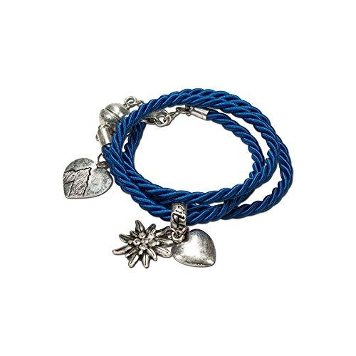 Alpenflüstern Damen Trachten-Wickelarmband Edelweiß blau DAB02600060