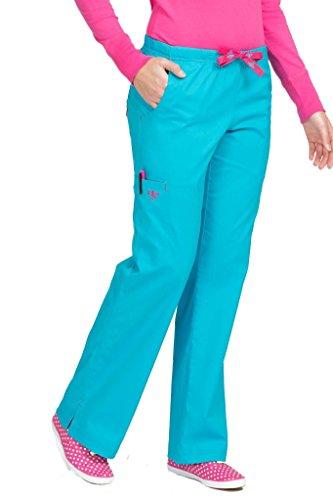 Med Couture Women's Moda Boot Leg Cut Scrub Pant, Turq Delight/Tango Pink, XS